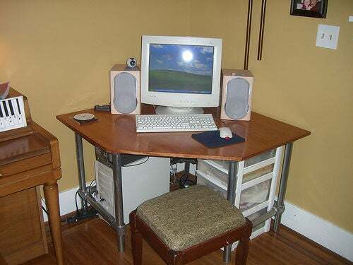 Pipe and Plywood Corner Desk