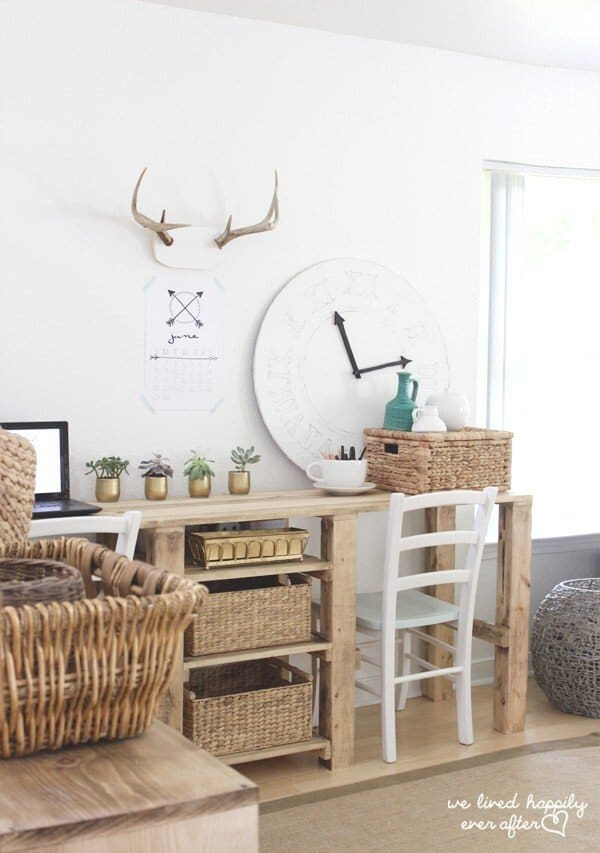 Chic Rustic Wood Desk with Storage