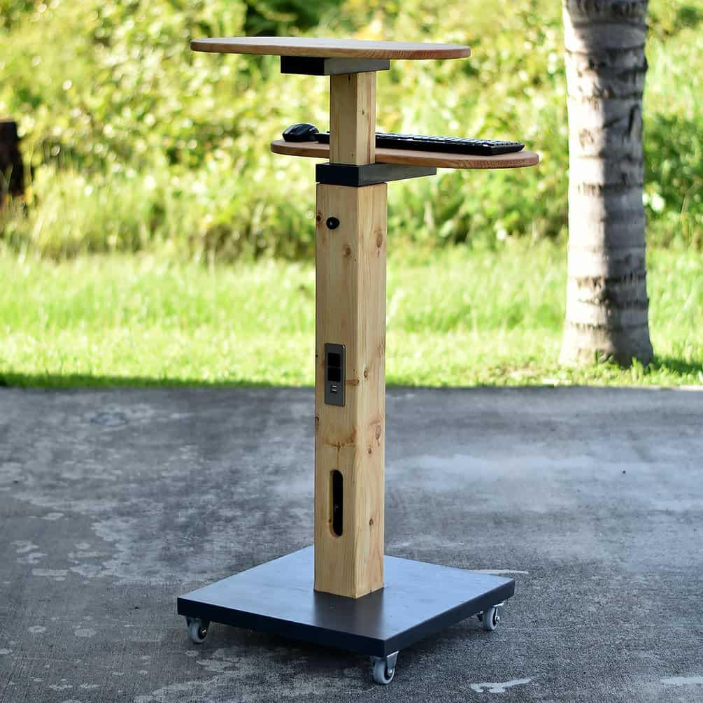 Mobile Standing Desk with Built-In Outlets