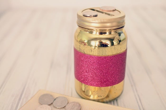 Glittered Mason Jar Coin Bank