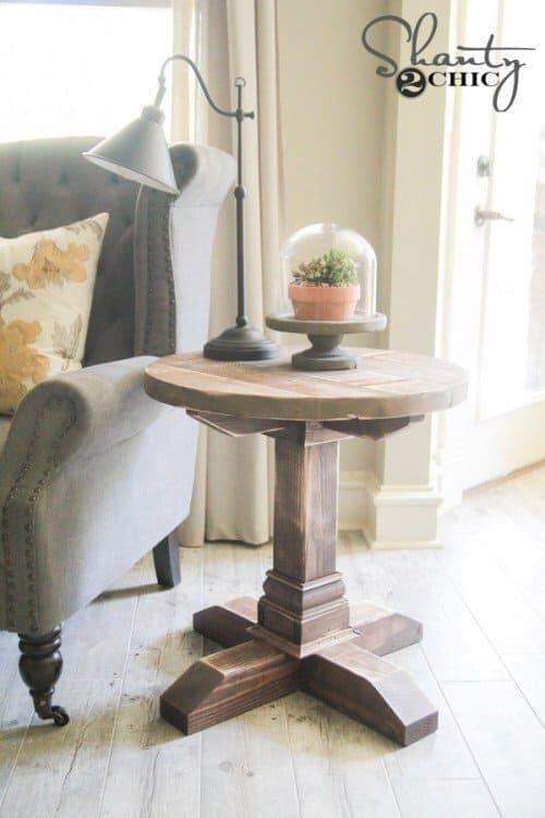 DIY Round Pedestal Side Table