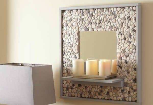 Mosaic Tile and Pebble Mirror