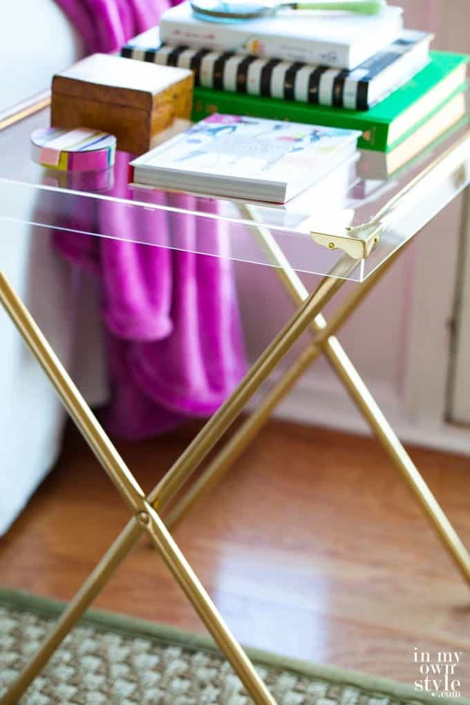 Repurposed Acrylic Side Table