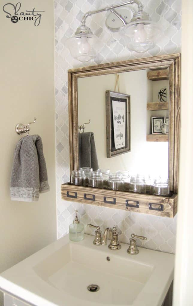 Rustic Mirror With Storage Space