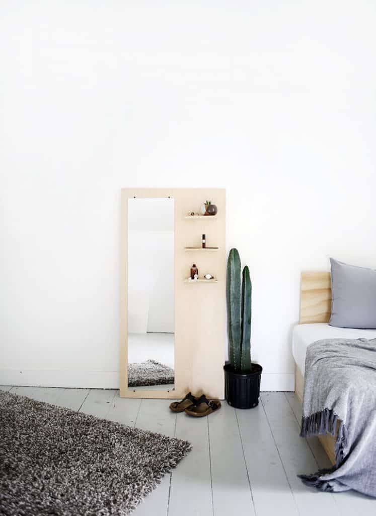 Plywood Floor Length Mirror with Shelves