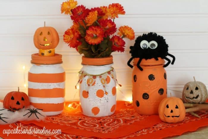 Polka Dotted and Striped Halloween Centerpieces