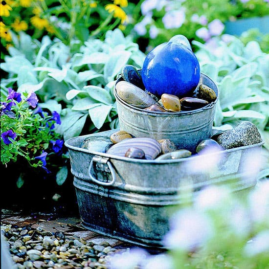 Gazing Ball Galvanized Tub Bubbler Fountain