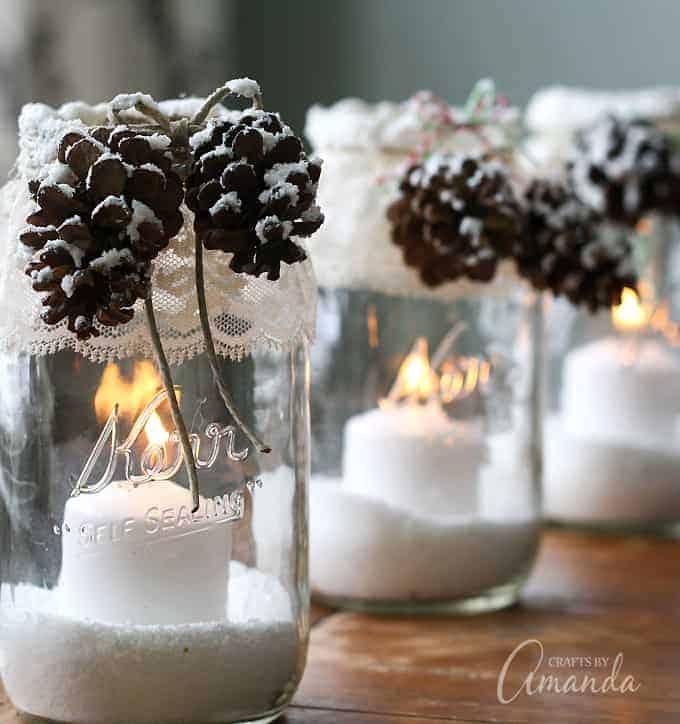 Snowy Pinecone Mason Jar Centerpiece