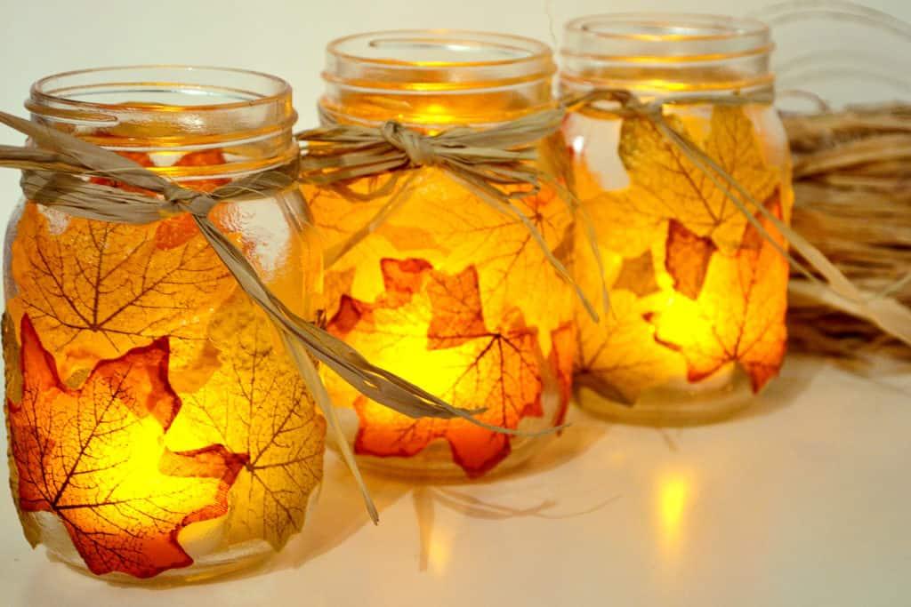 Autumn Leaf Candle Jar