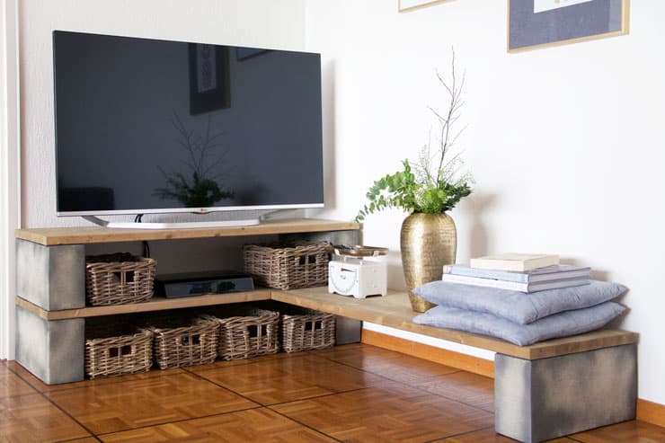 Concrete and Plywood TV Stand
