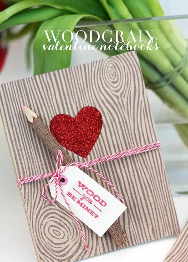 Woodgrain Love Themed Notebooks