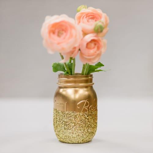 Glittered Metallic Mason Jar Centerpiece