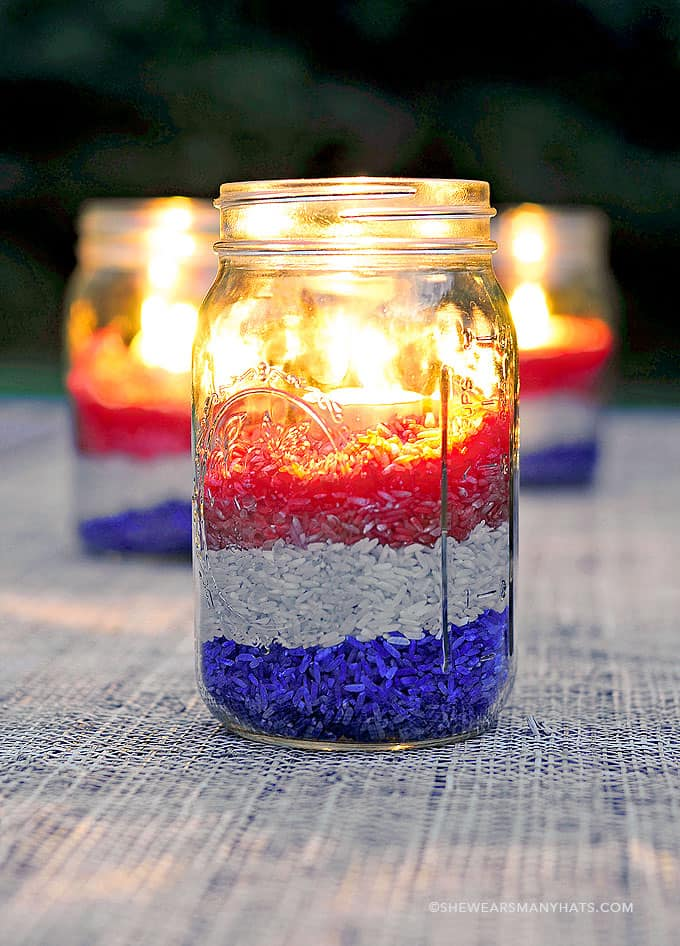 Patriotic Candleholder Jar Centerpieces