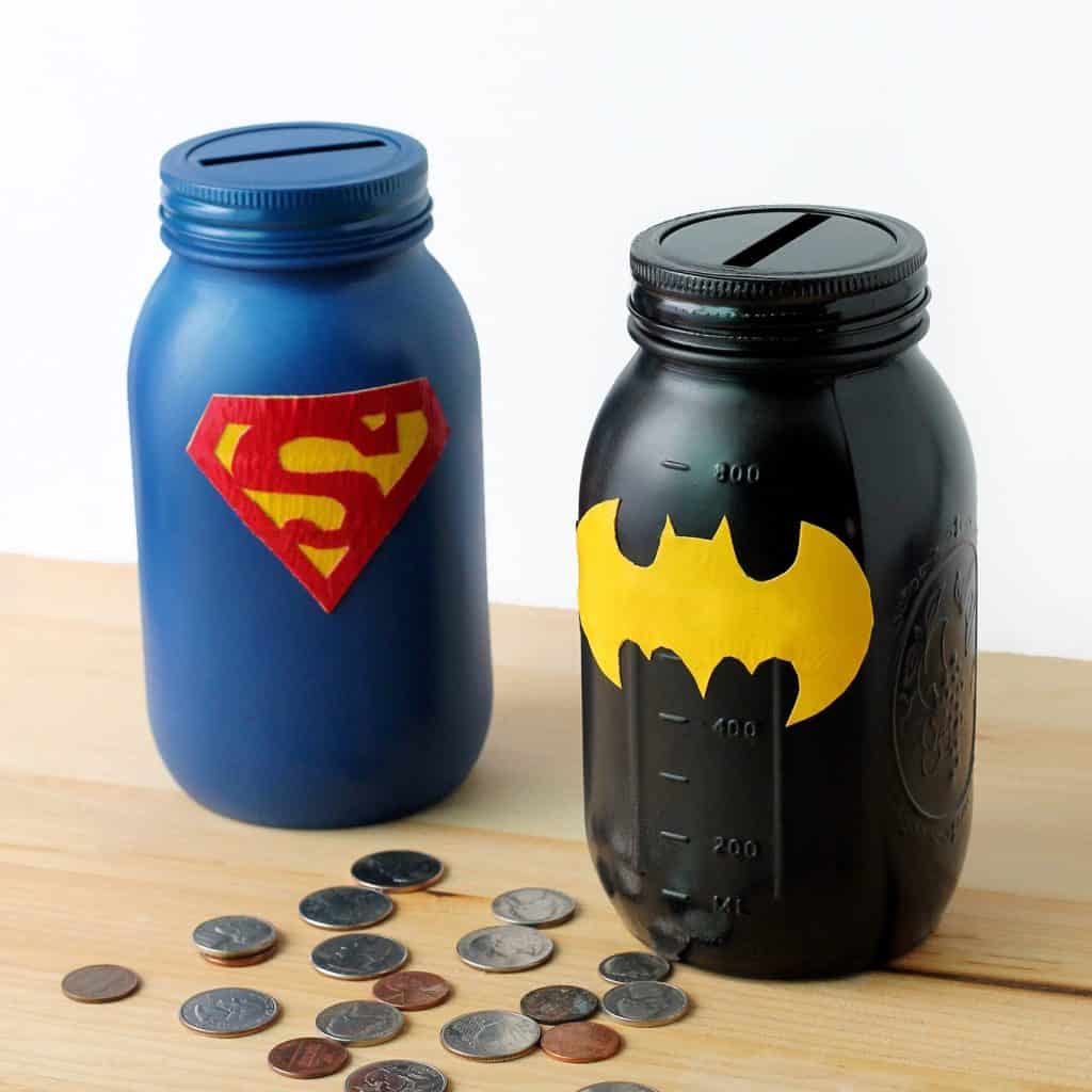 Superhero Mason Jar Banks