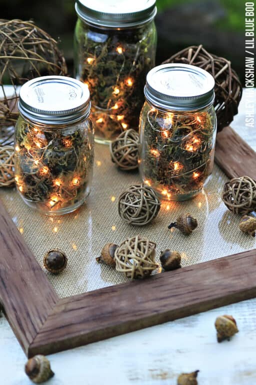 Woodsy Firefly Candleholder Centerpiece