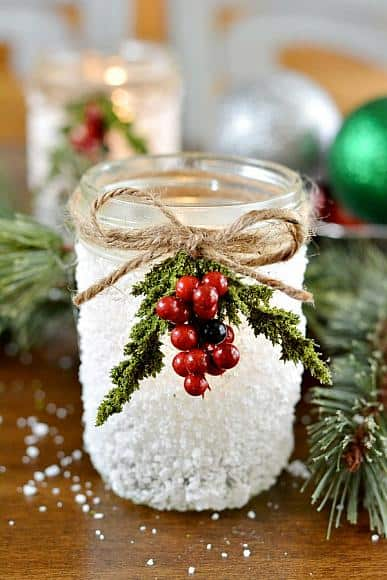 Frosted Snow Jar Centerpiece