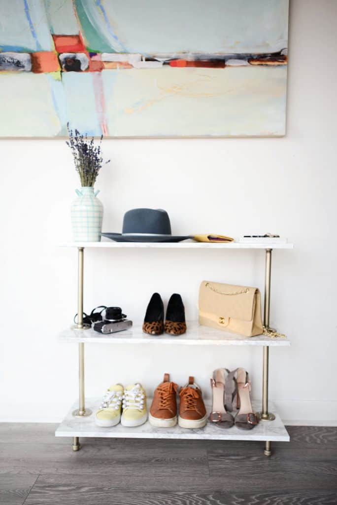 "Gold & ""Marble"" Shoe Rack"