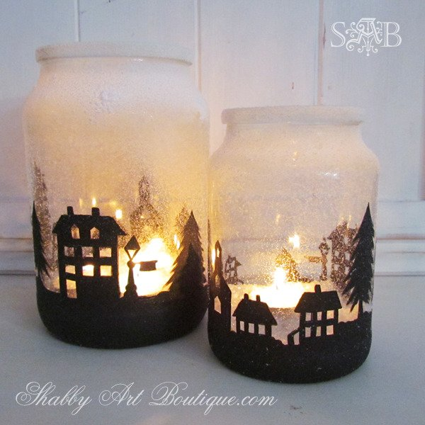 City Silhouette Lighted Candleholder