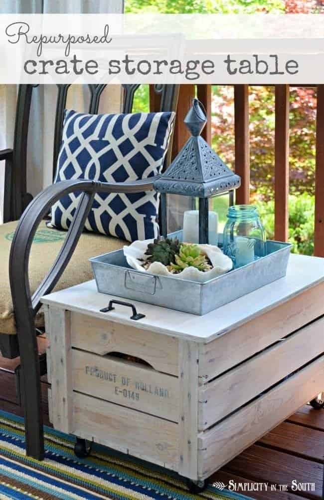 Rolling Crate Side Table