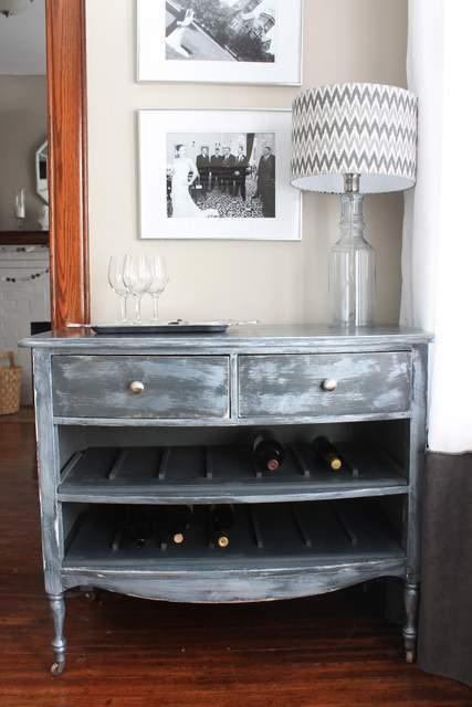 Repurposed Dresser Wine Rack