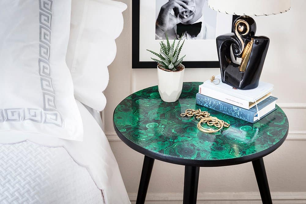 Faux Malachite Side Table Makeover