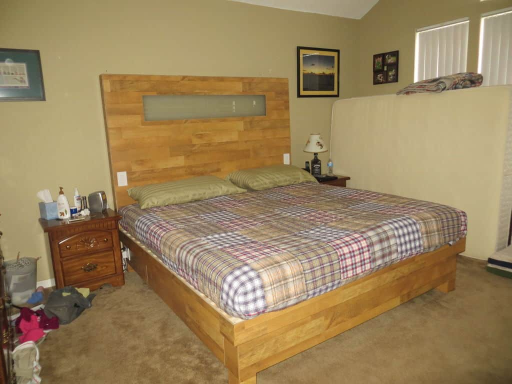 King Sized Wood Flooring Platform Bed
