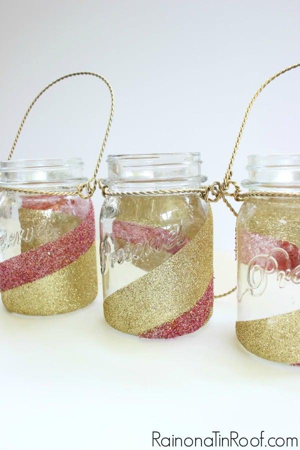 Swirled Glitter Mason Jar Centerpiece