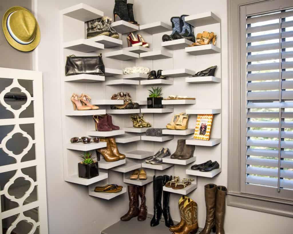 Multi-Level Corner Shoe Rack