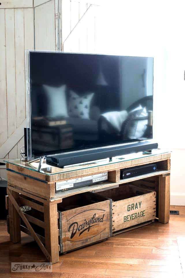 Rustic Glass Top Pallet Wood TV Stand