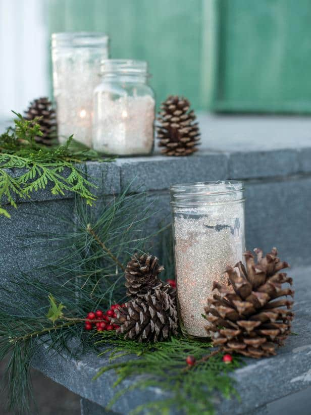 Glittered Mason Jar Candleholder Centerpiece