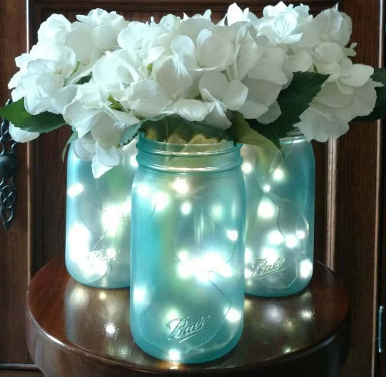 Fairy Light Frosted Mason Jar Centerpiece