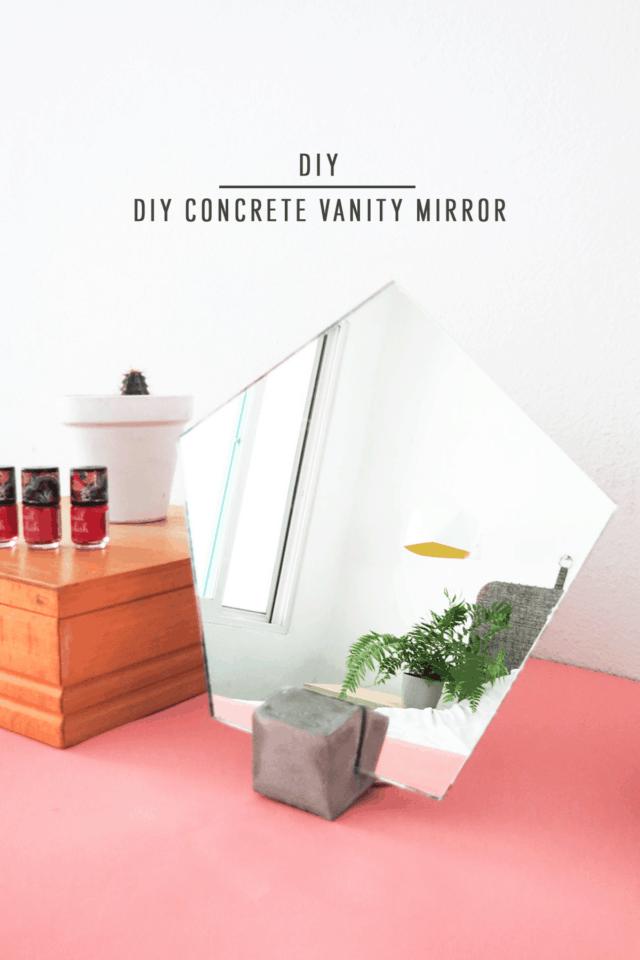 Small Concrete Vanity Mirror