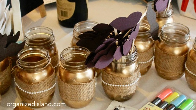Gold and Burlap Centerpiece