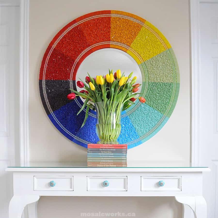 Mosaic Color Wheel Mirror Frame