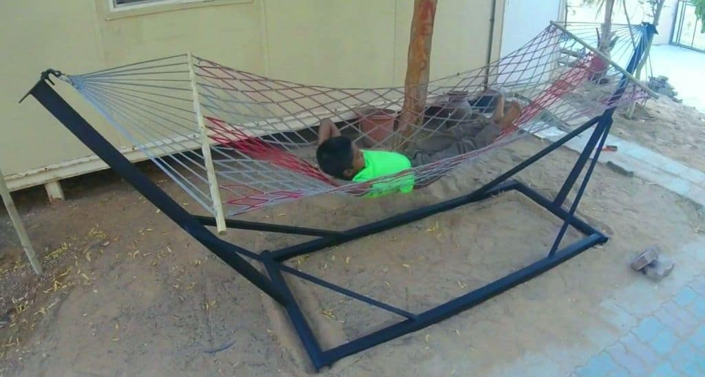 Reclaimed Materials Hammock Stand