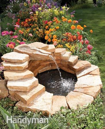 Stone-Lined Concrete Fountain