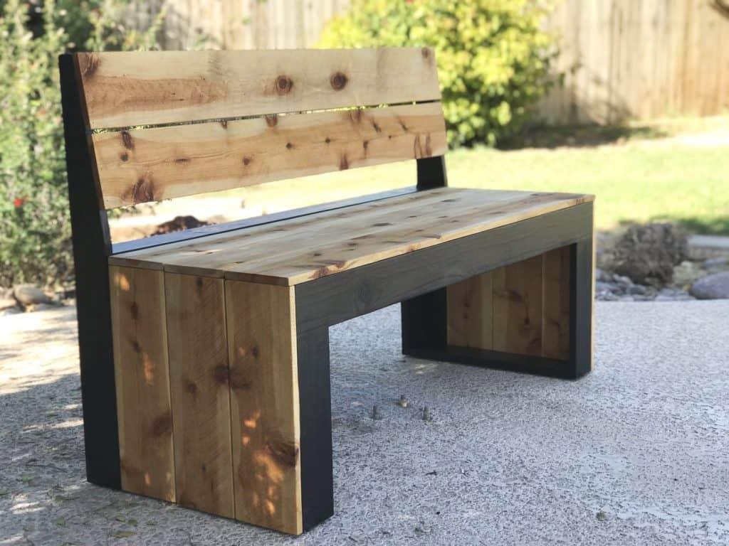 Black & 'White' Backed Bench