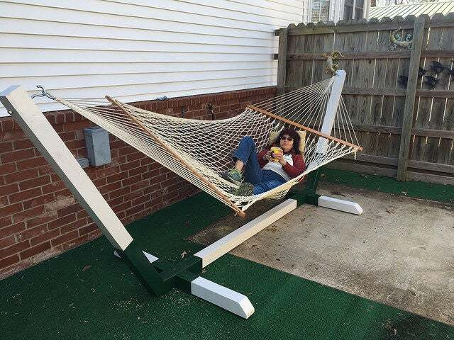 Metal and Wood Hammock Stand