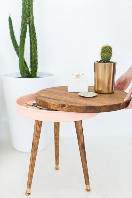 Mid-Century Modern Hidden Compartment Side Table