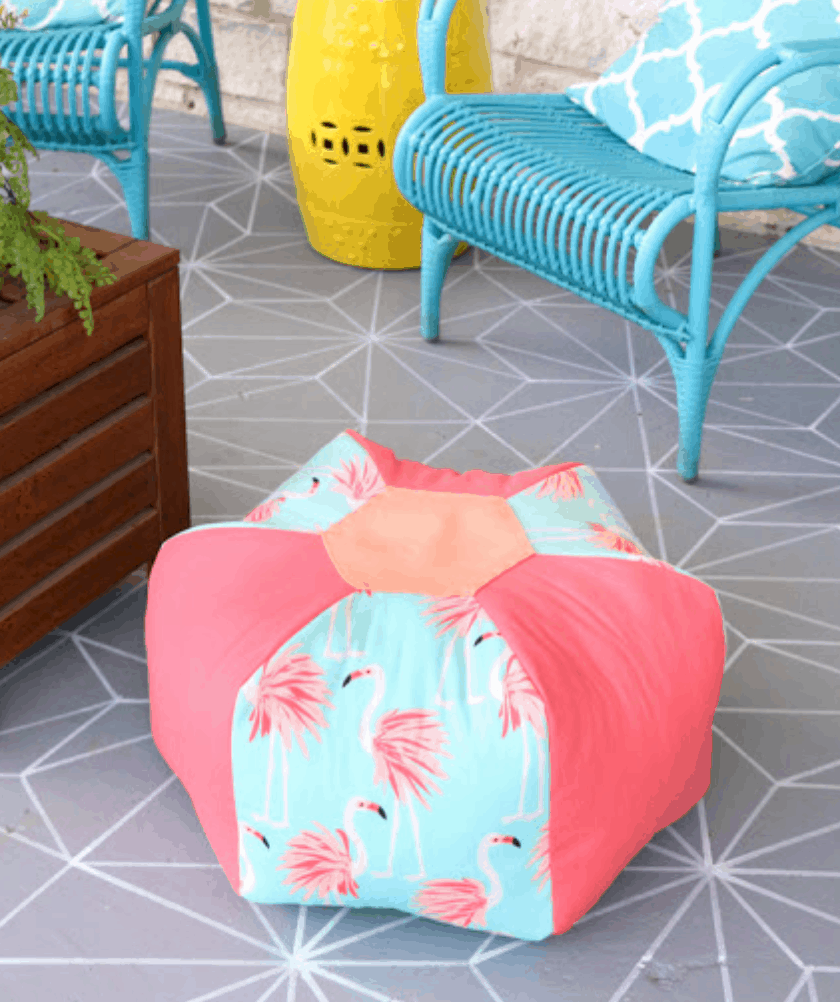 Outdoor Patterned Pouf
