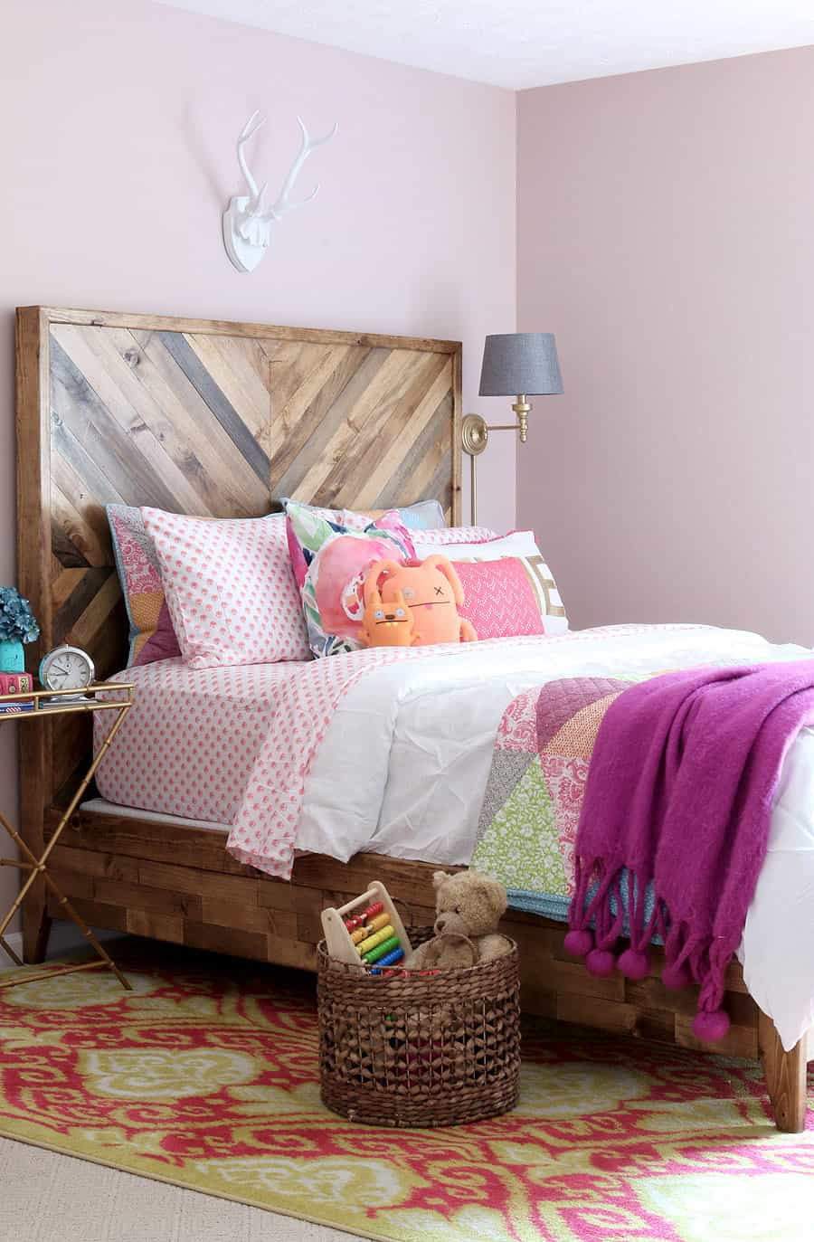 Chevron Headboard Bed