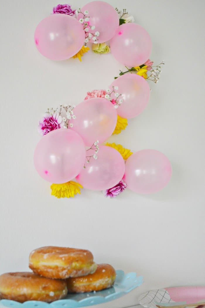 Balloon & Floral Number