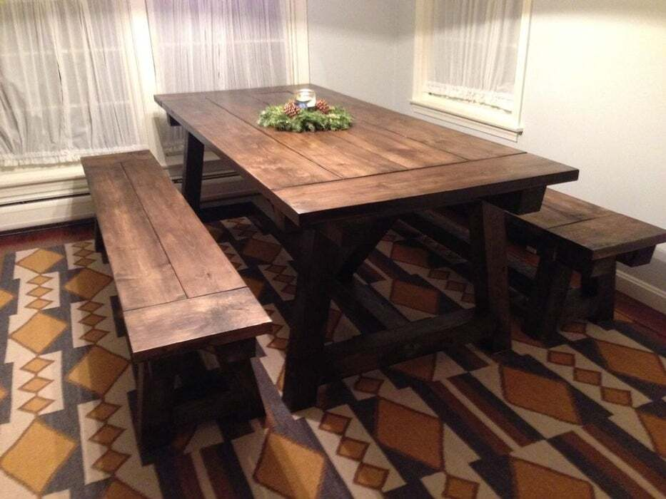 <strong>Solid Wood Farmhouse Table and Benches</strong>