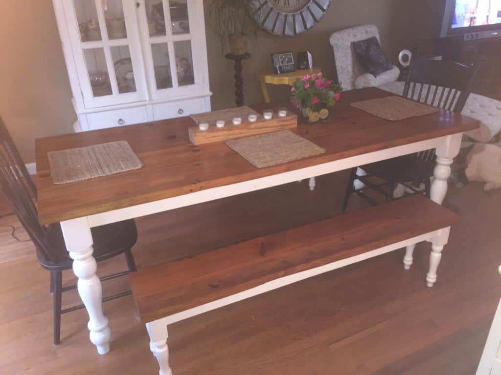 <strong>Vintage Style Farmhouse Table and Benches</strong>