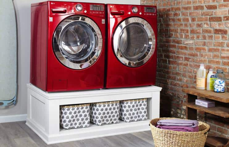 <strong>Solid Wood Laundry Pedestal with Storage</strong>