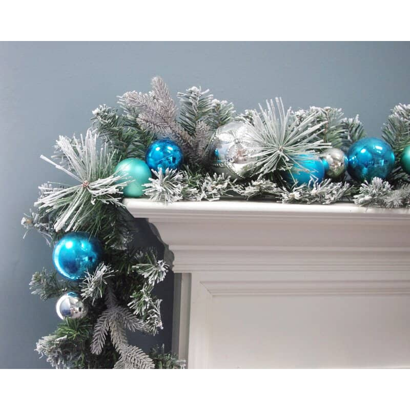 Make a Flocked Greenery and Ornament Garland