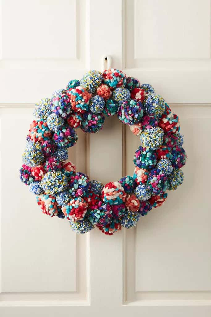 Go Unique With a Colorful Pom-Pom Wreath