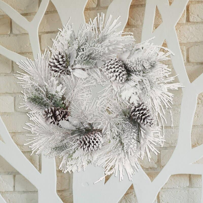 Frosted Greenery and Pinecones Wreath