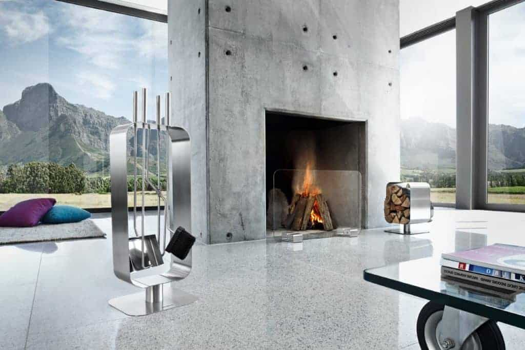 Go Modern and Industrial With a Sleek Concrete Fireplace