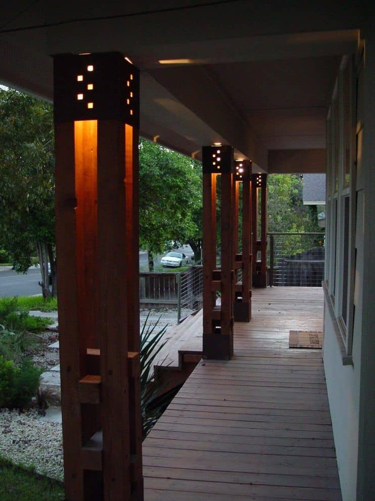 Porch Columns with Light in Them